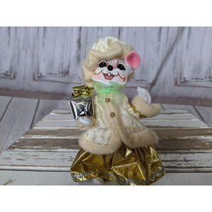 Vintage Annalee Fancy Gold Dress Coat Mouse Holdin